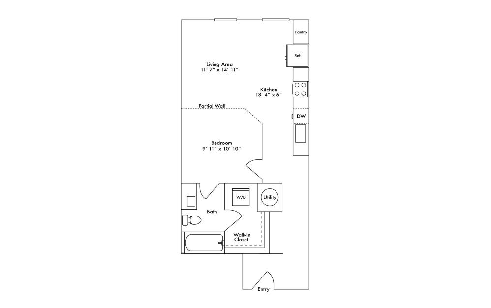 S4 - Studio floorplan layout with 1 bath and 699 square feet.