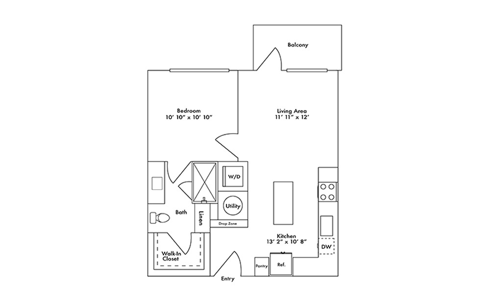 A1 - 1 bedroom floorplan layout with 1 bath and 624 square feet.