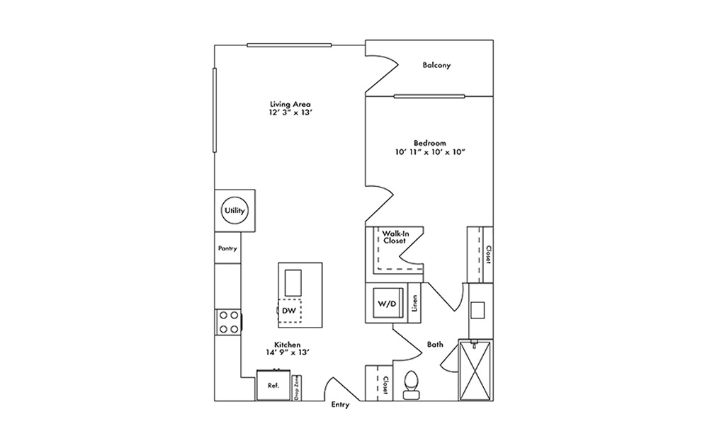 A10 - 1 bedroom floorplan layout with 1 bath and 753 square feet.