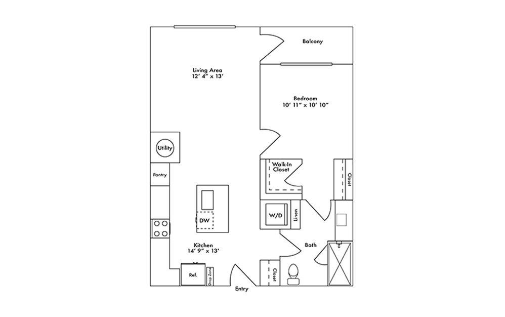 A11 - 1 bedroom floorplan layout with 1 bath and 754 square feet.