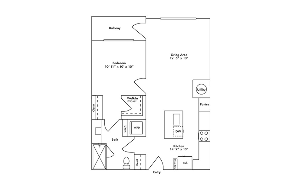 A12 - 1 bedroom floorplan layout with 1 bath and 755 square feet.