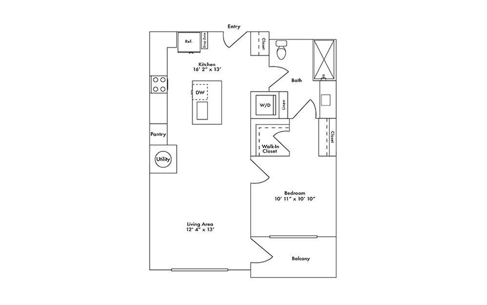 A13 - 1 bedroom floorplan layout with 1 bath and 771 square feet.