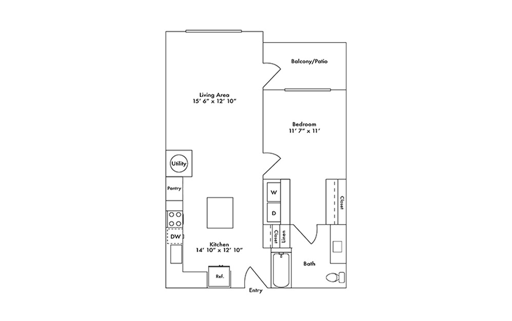 A14 - 1 bedroom floorplan layout with 1 bath and 792 square feet.