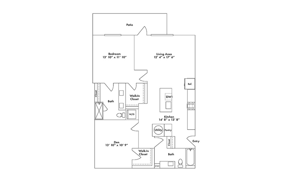 A15 - 1 bedroom floorplan layout with 2 baths and 1221 square feet.