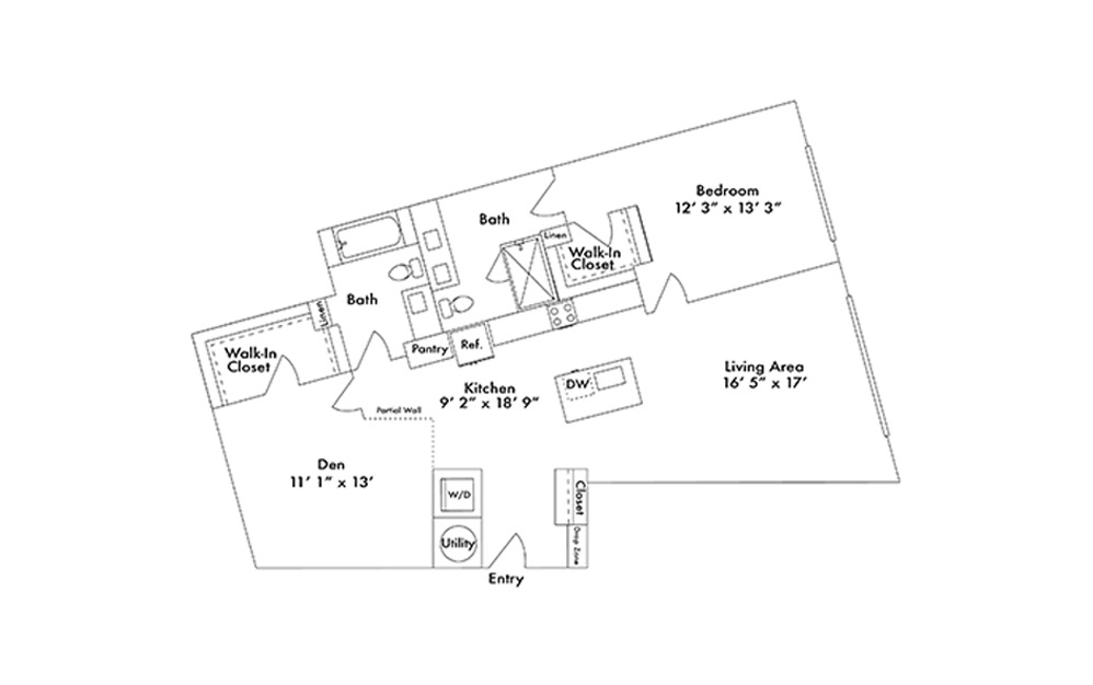 A16 - 1 bedroom floorplan layout with 2 baths and 1308 square feet.