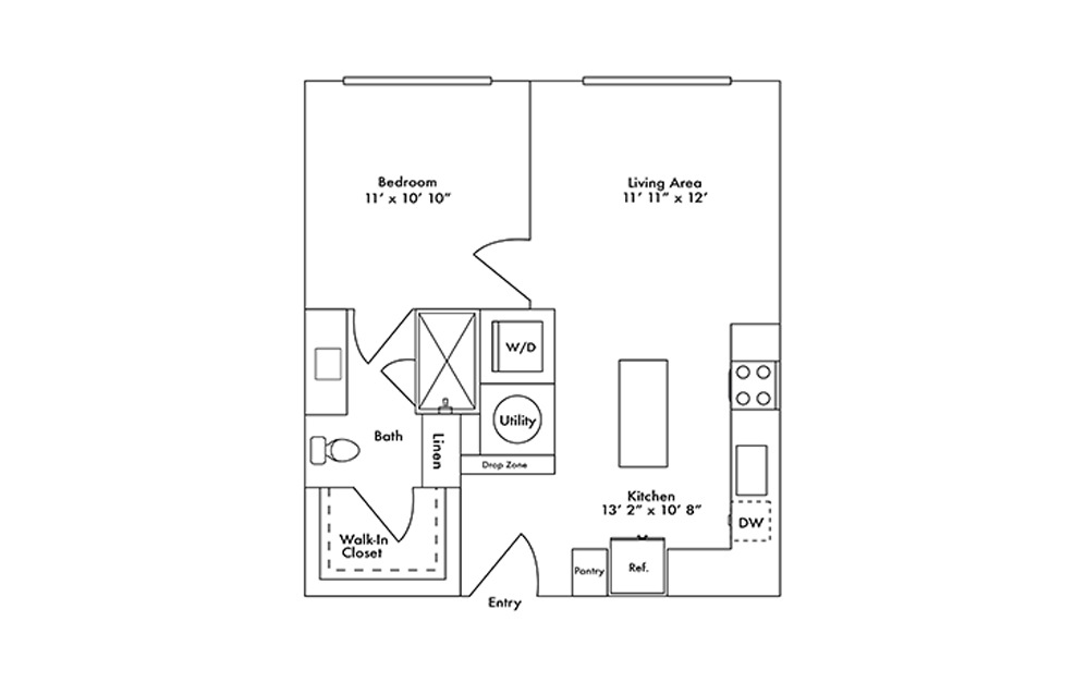 A2 - 1 bedroom floorplan layout with 1 bath and 628 square feet.