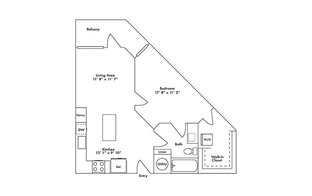A3 - 1 bedroom floorplan layout with 1 bath and 698 square feet.