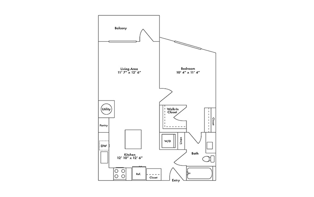 A5 - 1 bedroom floorplan layout with 1 bath and 724 square feet.