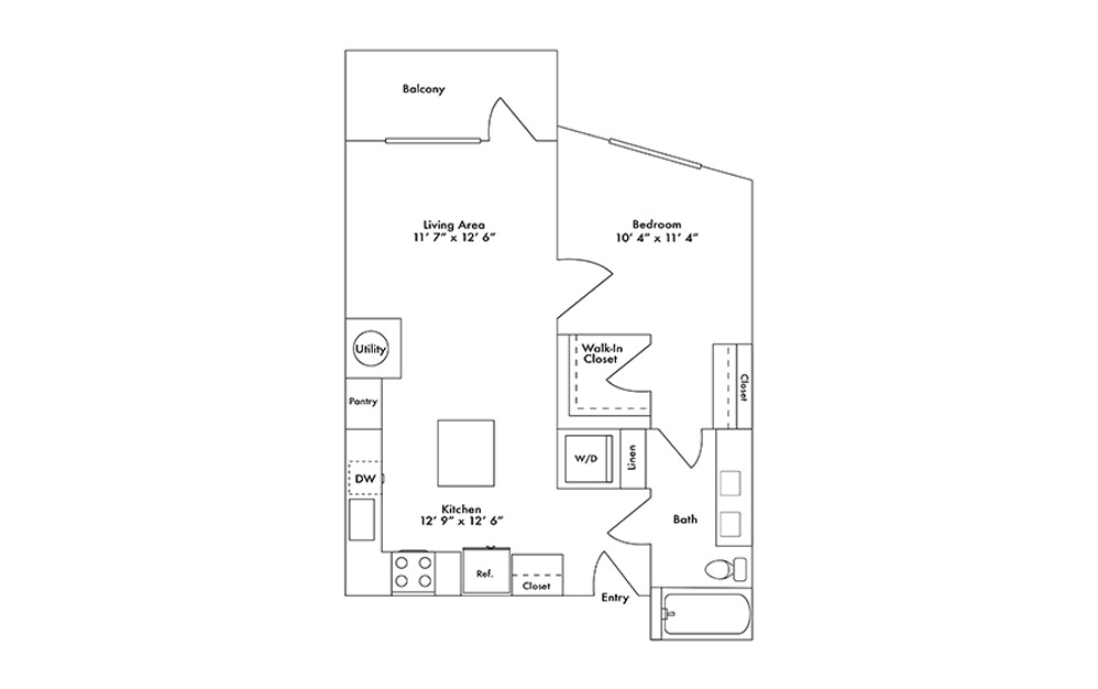 A6 - 1 bedroom floorplan layout with 1 bath and 739 square feet.
