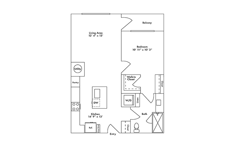 A7 - 1 bedroom floorplan layout with 1 bath and 740 square feet.