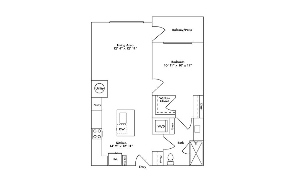 A8 - 1 bedroom floorplan layout with 1 bath and 748 square feet.