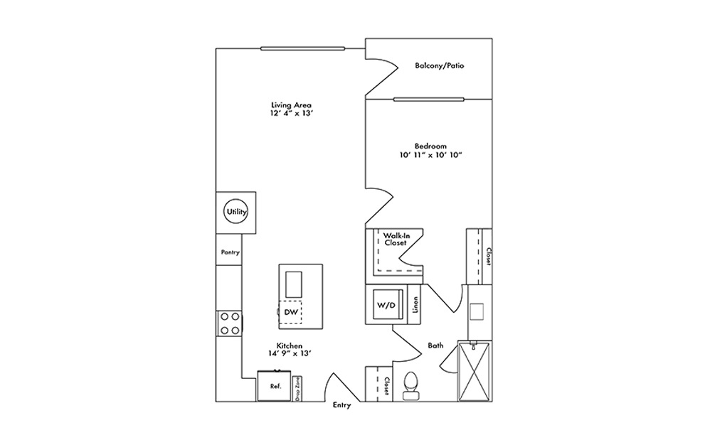 A9 - 1 bedroom floorplan layout with 1 bath and 749 square feet.