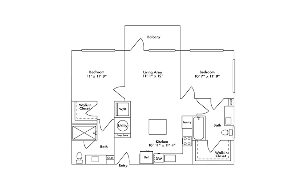 B1 - 2 bedroom floorplan layout with 2 baths and 978 square feet.