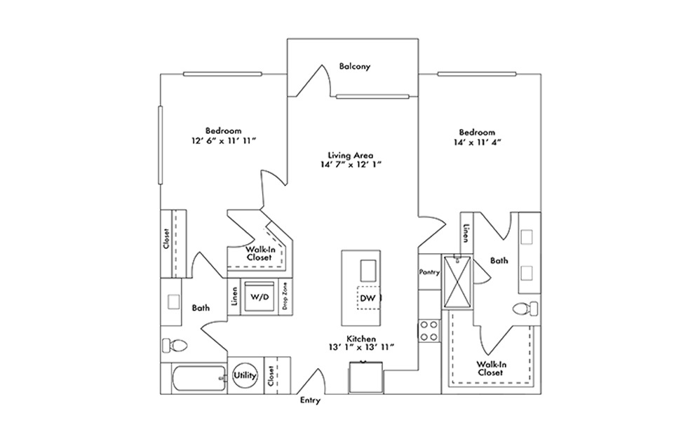 B10 - 2 bedroom floorplan layout with 2 baths and 1132 square feet.