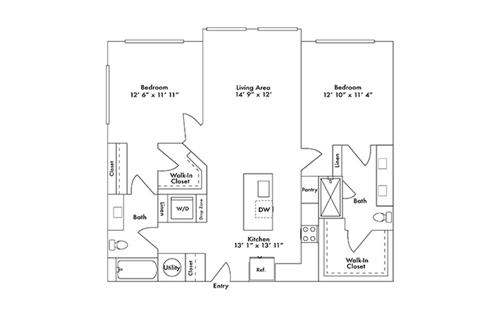 B11 - 2 bedroom floorplan layout with 2 baths and 1169 square feet.