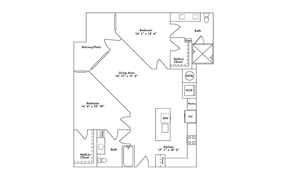 B12 - 2 bedroom floorplan layout with 2 baths and 1175 square feet.