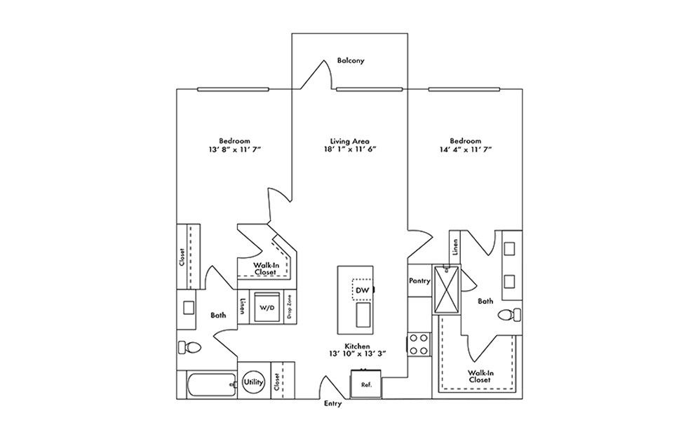 B14 - 2 bedroom floorplan layout with 2 baths and 1177 square feet.