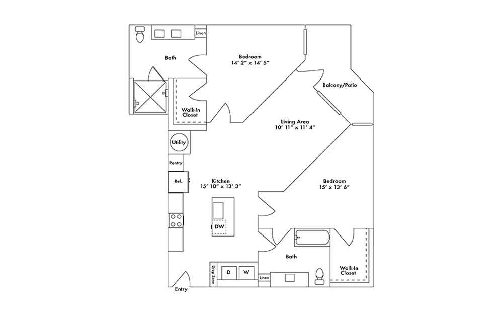 B15 - 2 bedroom floorplan layout with 2 baths and 1195 square feet.