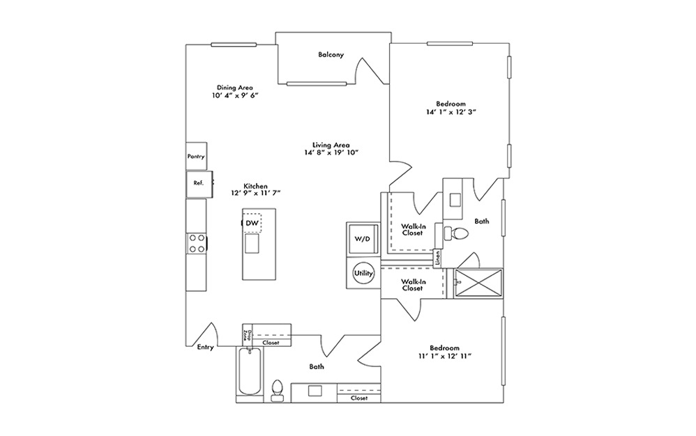 B16 - 2 bedroom floorplan layout with 2 baths and 1329 square feet.