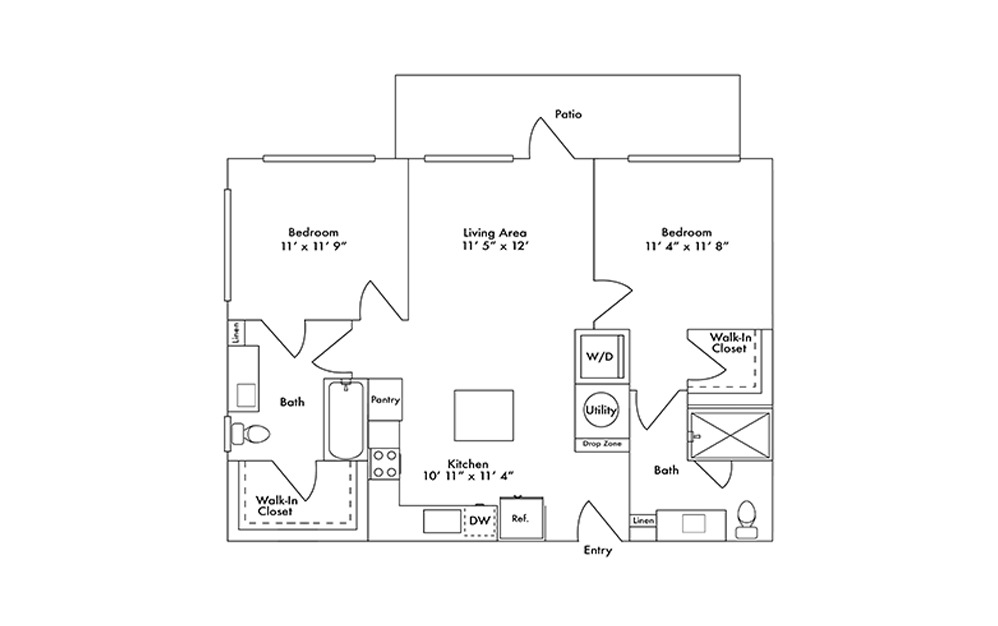 B2 - 2 bedroom floorplan layout with 2 baths and 980 square feet.