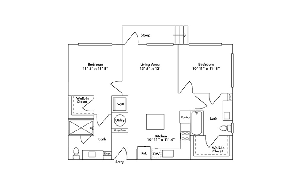 B3 - 2 bedroom floorplan layout with 2 baths and 991 square feet.