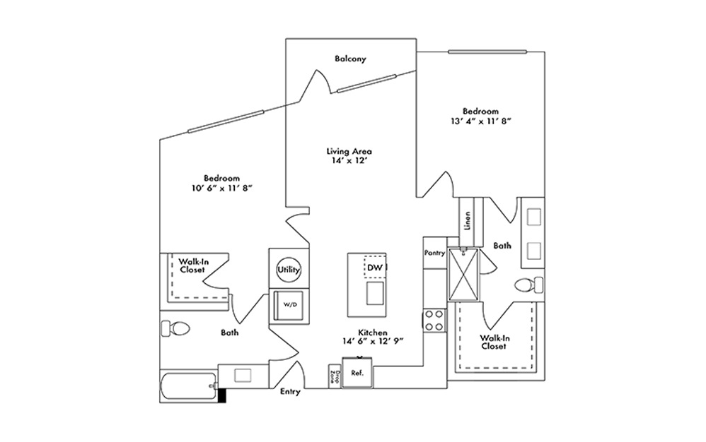 B5 - 2 bedroom floorplan layout with 2 baths and 1082 square feet.