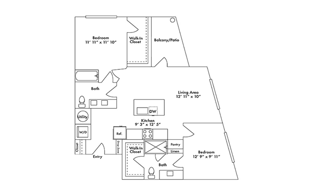 B6 - 2 bedroom floorplan layout with 2 baths and 1087 square feet.