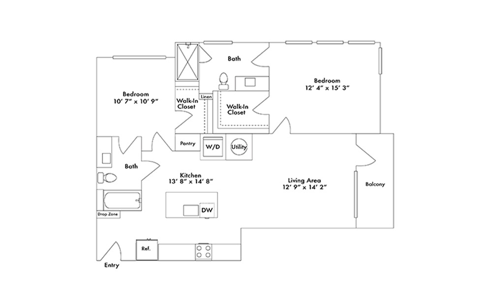 B7 - 2 bedroom floorplan layout with 2 baths and 1103 square feet.
