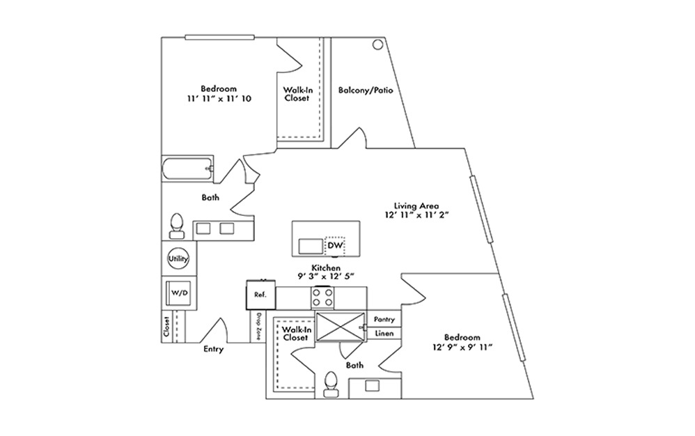 B8 - 2 bedroom floorplan layout with 2 baths and 1118 square feet.