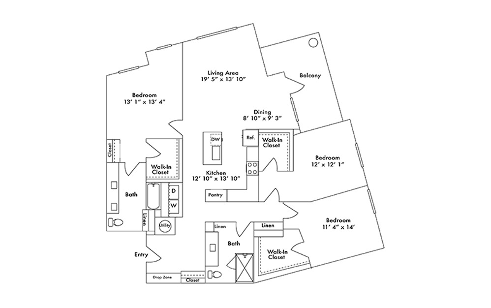 C1 - 3 bedroom floorplan layout with 2 baths and 1753 square feet.