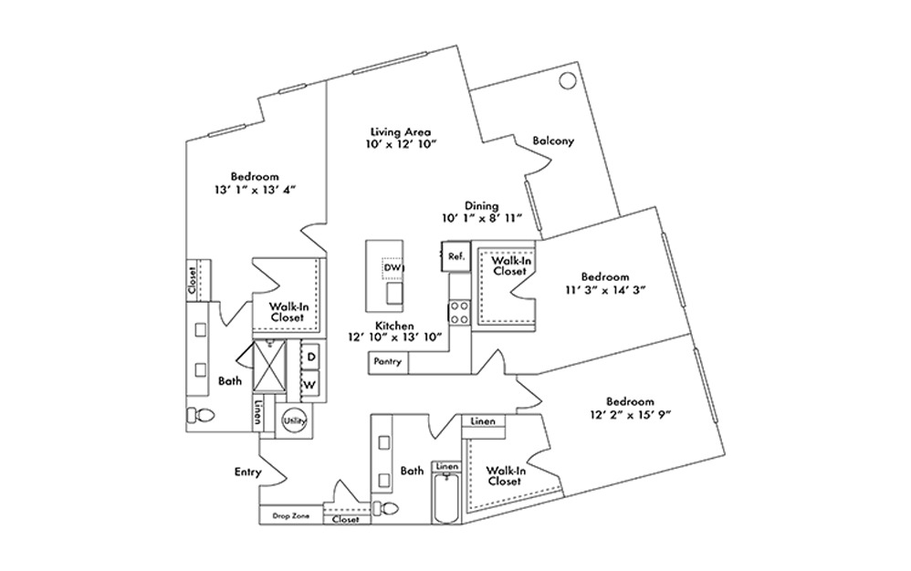 C2 - 3 bedroom floorplan layout with 2 baths and 1810 square feet.