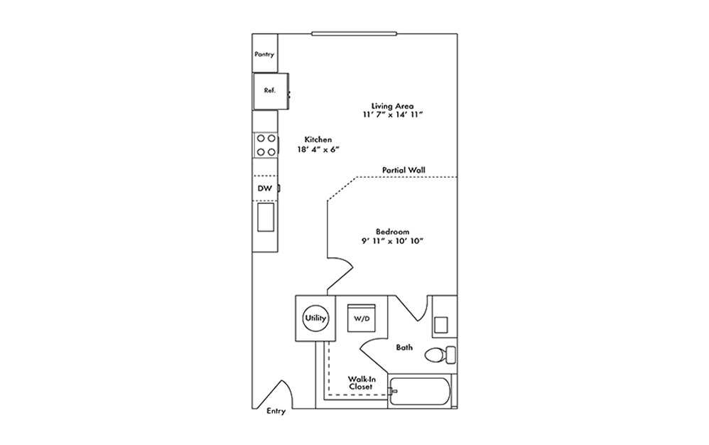 S1 - Studio floorplan layout with 1 bath and 585 square feet.