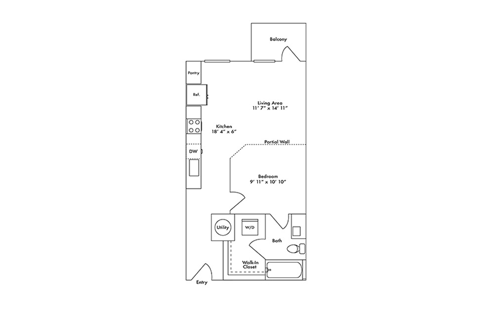 S2 - Studio floorplan layout with 1 bath and 585 square feet.