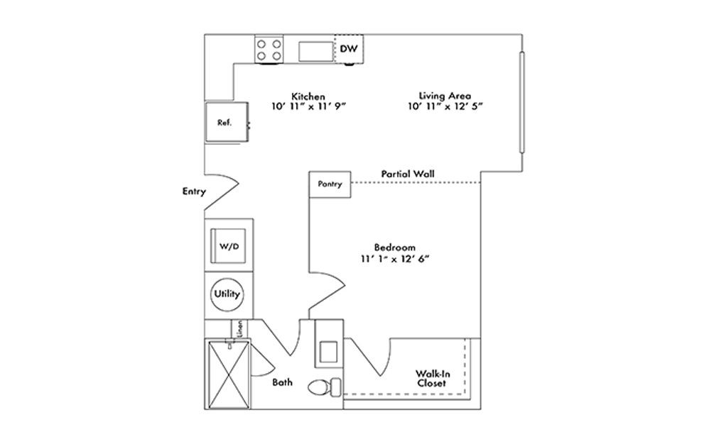 S3 - Studio floorplan layout with 1 bath and 632 square feet.