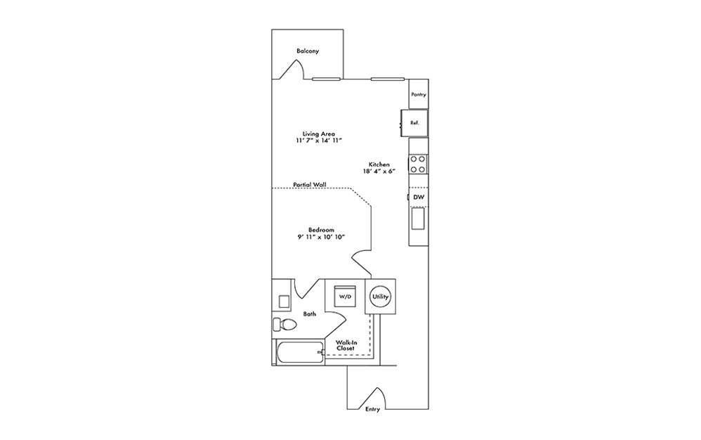 S4 - Studio floorplan layout with 1 bath and 699 square feet.
