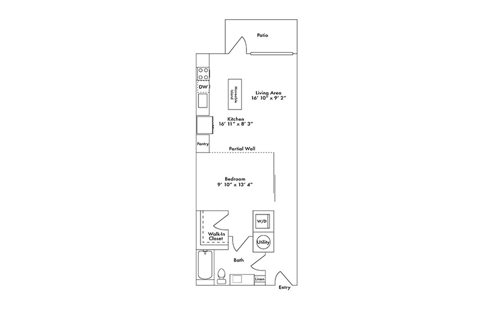 S5 - Studio floorplan layout with 1 bath and 745 square feet.