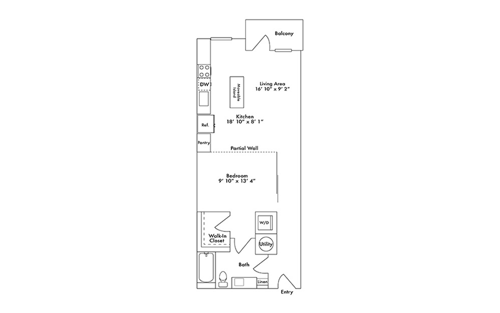 S6 - Studio floorplan layout with 1 bath and 762 square feet.