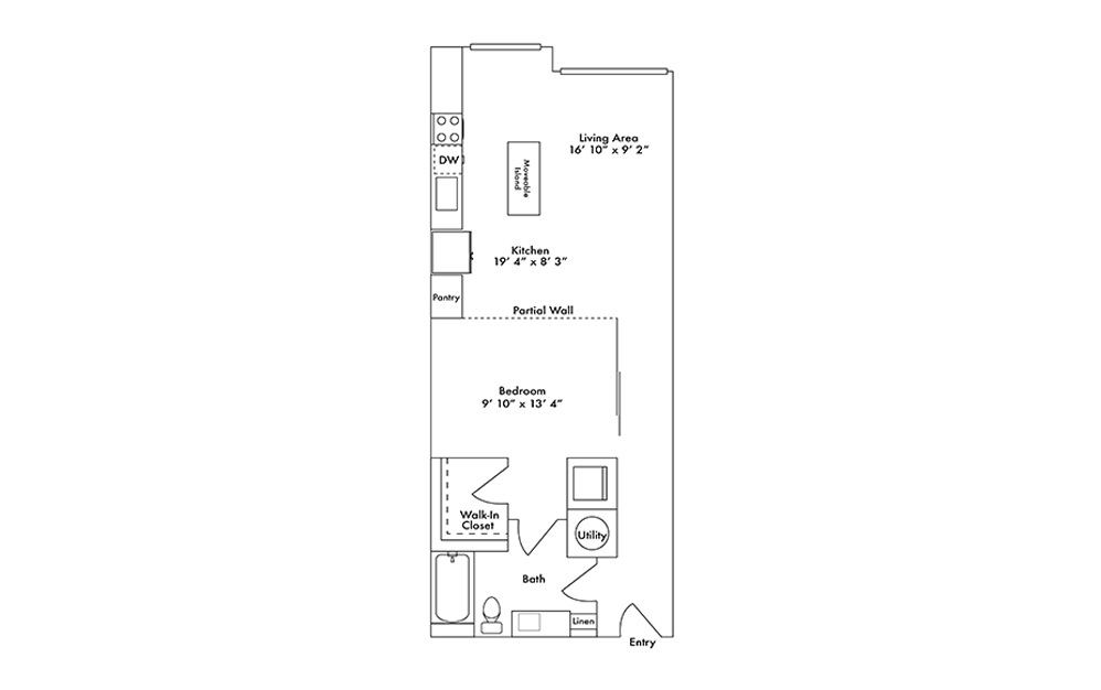 S7 - Studio floorplan layout with 1 bath and 769 square feet.