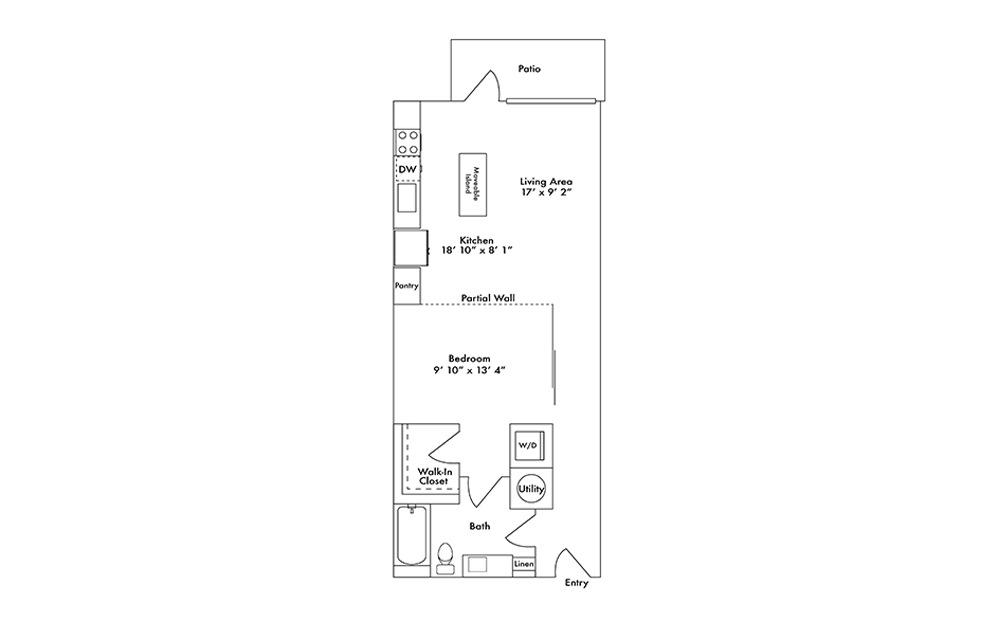 S8 - Studio floorplan layout with 1 bath and 781 square feet.