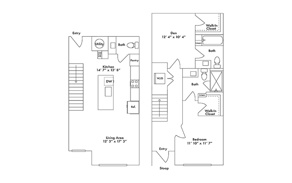 TH1 - 1 bedroom floorplan layout with 2.5 baths and 1236 square feet.