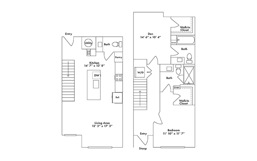 TH2 - 1 bedroom floorplan layout with 2.5 baths and 1275 square feet.