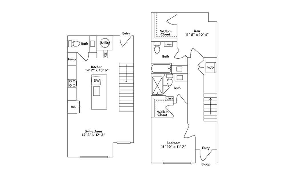 TH3 - 1 bedroom floorplan layout with 2.5 baths and 1275 square feet.