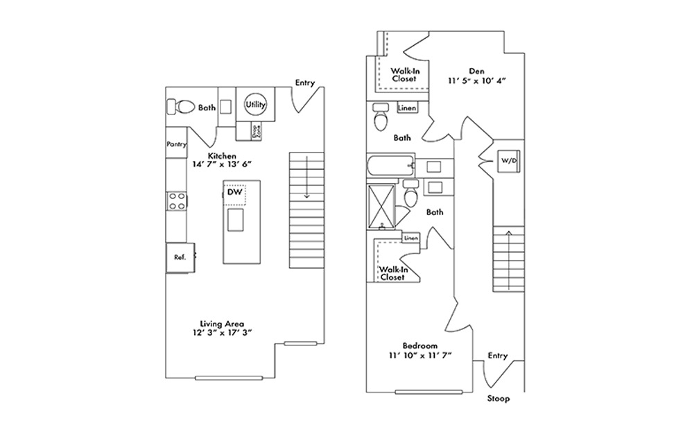 TH4 - 1 bedroom floorplan layout with 2.5 baths and 1279 square feet.