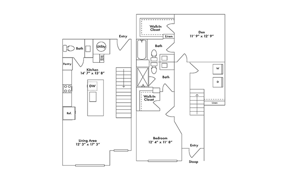 TH5 - 1 bedroom floorplan layout with 2.5 baths and 1366 square feet.