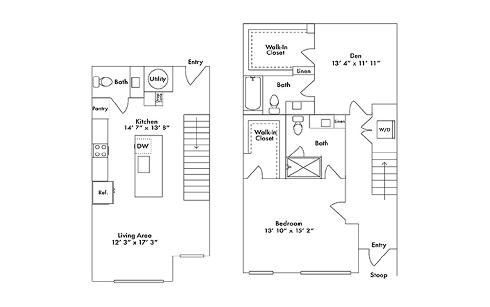 TH6 - 1 bedroom floorplan layout with 2.5 baths and 1455 square feet.