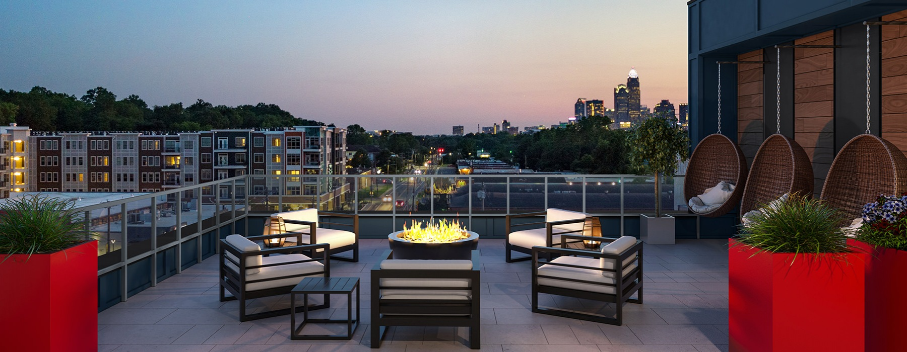 Rooftop Lounge at Sunset at Bainbridge NoDa