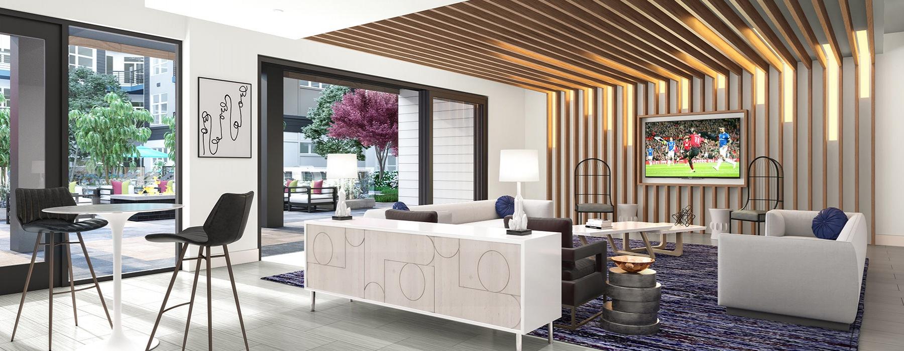 Comfortable Resident Lounge inside Bainbridge NoDa